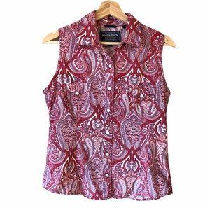 RoughStock Sleeveless Pearl Button Shirt Paisley M
